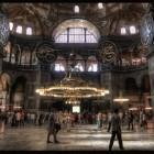 L'intérieur de la grande mosquée de Hagia Sophia en Turquie