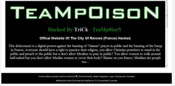 Prière de rue & Burqa : le site de la ville de Rennes piraté