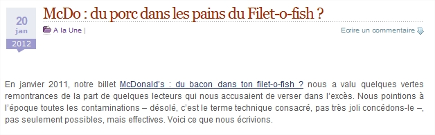 Du porc dans le Filet-o-fish – Mc-Donald's