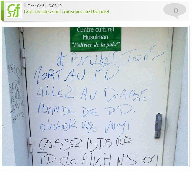 Tags racistes sur la mosquée de Bagnolet - Google Chrome