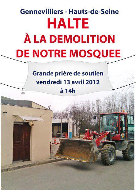 Gennevilliers : Halte à la démolition de notre mosquée