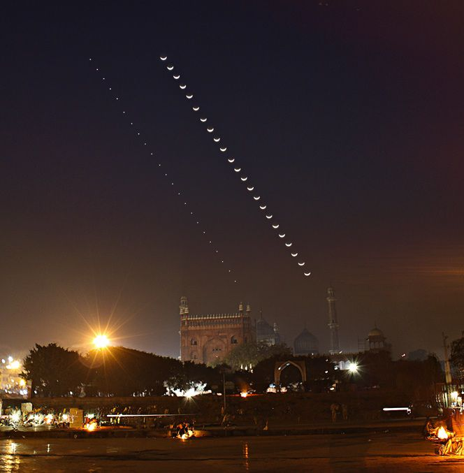 La Lune, Venus et la grande mosquée de Delhi