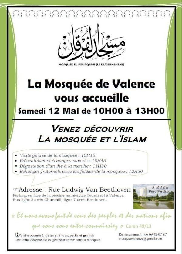 Affiche portes ouvertes de la mosquée de Valence