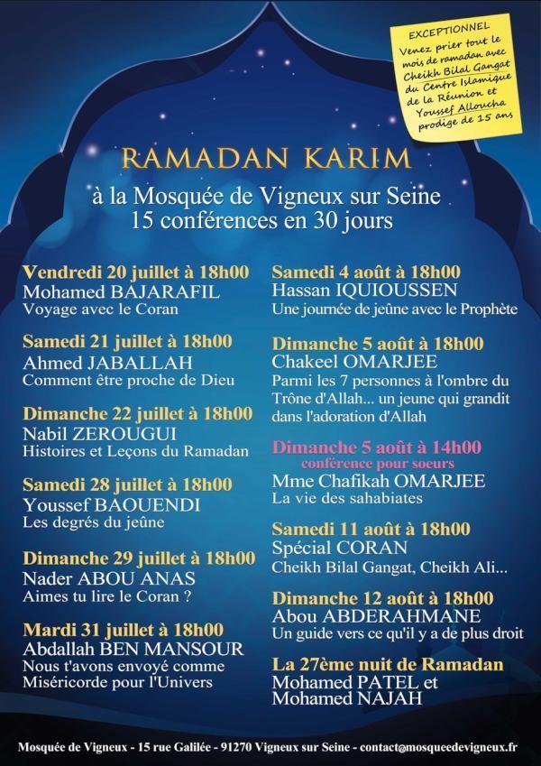 Le programme Ramadan 2012 de la mosquée de Vigneux