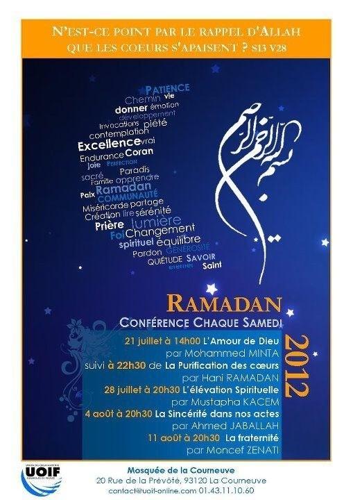 Mosquée de La courneuve programme Ramadan 2012